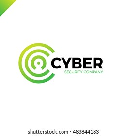 Cyber Security and defender line Letter C logo icon design template elements with dot in middle. Keyhole in negative space green color