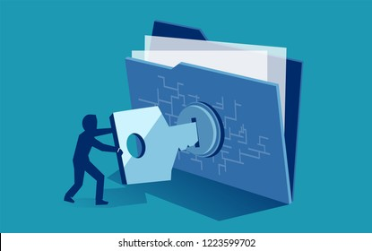 Cyber security digital file protection concept. Vector of man using security key to access digital file
