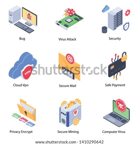 Cyber Security Encryption Icons Stock Vector (Royalty Free