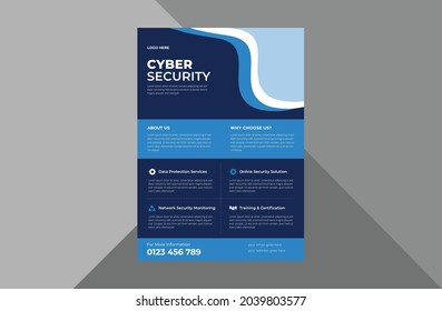 cyber security flyer design template. cyber security protection poster leaflet design. a4 template, brochure design, cover, flyer, poster, print-ready