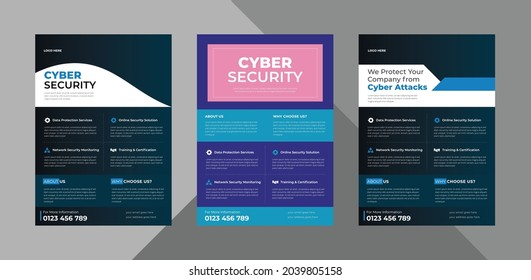 cyber security flyer design template bundle. cyber security protection poster leaflet design. bundle, 3 in 1, a4 template, brochure design, cover, flyer, poster, print-ready