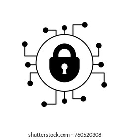 Cyber security glyph icon