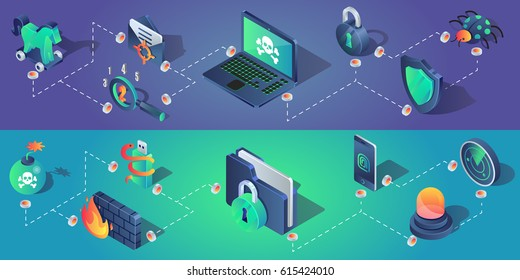 Cyber security horizontal banners with isometric icons vector illustration