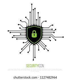 Cyber Security Icon. Shield Security Lock. Vector Illustration.