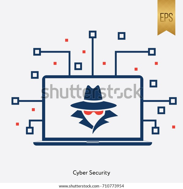 Cyber Security Icon Vector Flat Computer Sign Symbol Graphic