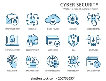Cyber security icons, such as secure payment, digital key, verification and more. Change to any size and any colour.