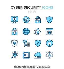Cyber security icons. Vector line icons set. Premium quality. Simple thin line design. Modern outline symbols, pictograms.