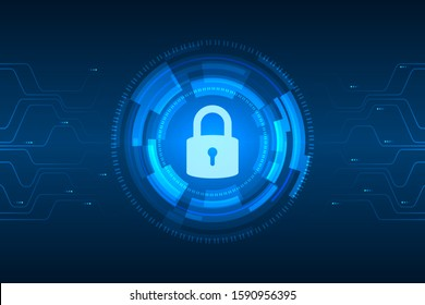 Cyber security illustration, lock icon on circuit line, light graphic on blue background.