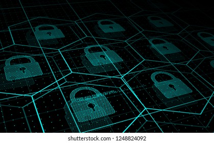 Cyber security, information security. HUD blue hexagons and padlocks, futuristic background. Vector illustration.