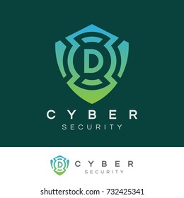cyber security initial Letter D Logo design