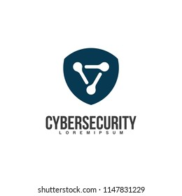 Cyber Security logo Design. Shield logo icon.  The interlocked network-like elements form a protective shield shape.