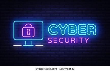 Cyber Security Neon signboard Vector. Internet Security neon sign, design template, modern trend design, night signboard, night bright advertising, light banner, light art. Vector illustration