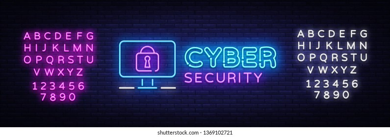 Cyber Security Neon signboard Vector. Internet Security neon sign, design template, modern trend design, night signboard, night bright advertising, light art. Vector. Editing text neon sign