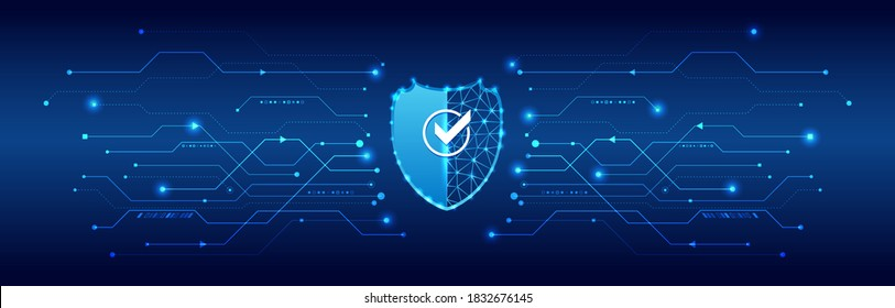 Cyber security or network protection. Futuristic shield on the hi-tech background. Technology cyber security. System privacy.