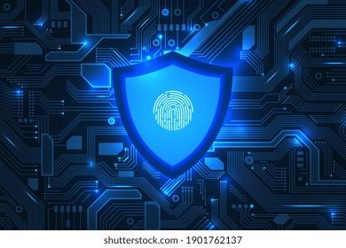 Cyber security. Online information protect, internet digital technology background. Save data, fingerprint on shield recent vector concept