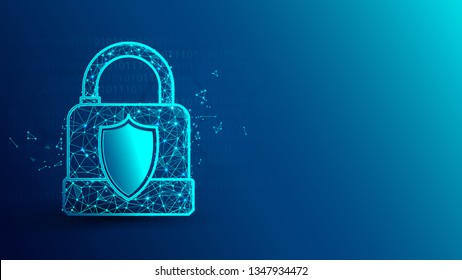 Cyber security and padlock icon from lines, triangles and particle style design. Illustration vector