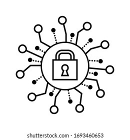 Cyber Security Padlock icon vector. Lock flat sign