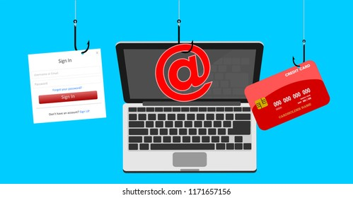 Cyber security and phishing concept illustration vector