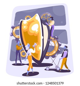 Cyber security and privacy concept. Group of business people gathered around shield. Company providing customer protection. Hand drawn illustration.