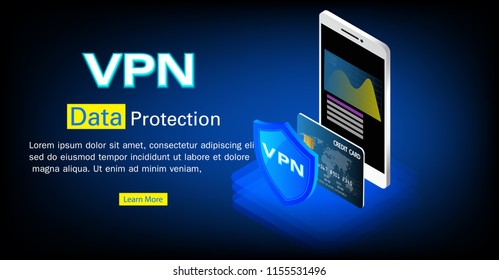 Cyber security and privacy ,Isometric personal data protection web banner concept VPN, Privacy Protection Antivirus.