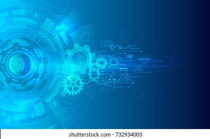 Cyber security protection concept with finger print icon on blue wheel background and arrow. Protect mechanism, system privacy. Vector illustration