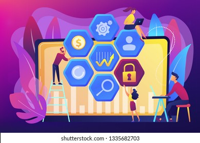 Cyber security risk analysts reduce risks. Cyber security management, cyber security risk, management strategy concept on ultraviolet background. Bright vibrant violet vector isolated illustration