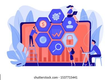 Cyber security risk analysts team reduce risks. Cyber security management, cyber security risk, management strategy concept on white background. Pinkish coral bluevector isolated illustration