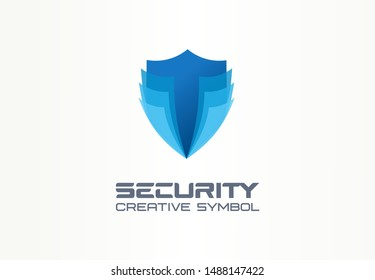 Cyber security shield creative symbol concept. Digital safety, safe, complex protection abstract business logo idea. Total defence icon. Corporate identity logotype, company graphic design tamplate