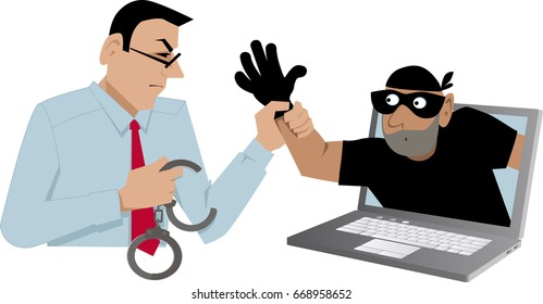 Cyber security specialist catching a thief coming out of a laptop, EPS 8 vector illustration