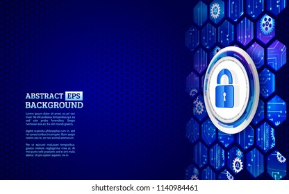 Cyber security technology concept. Global network mechanism. Abstract isometric background with padlock.