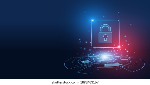 Cyber security technology concept , Shield With Keyhole icon  , personal data ,
