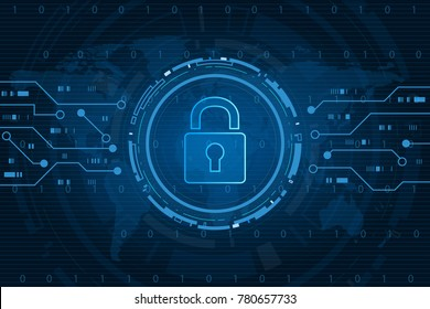 Cyber security technology concept , Shield With Keyhole icon with world map background , personal data , vector illustration.