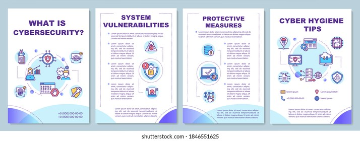 Cyber security tips brochure template. System vulnerabilities. Flyer, booklet, leaflet print, cover design with linear icons. Vector layouts for magazines, annual reports, advertising posters