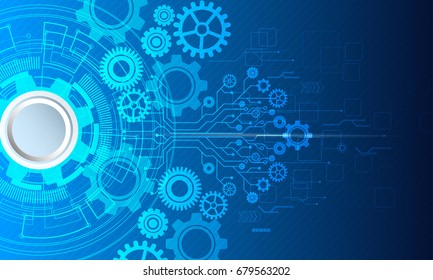 Cyber security, Vector illustration white gear and tree cog wheel on circuit board, Technology and engineering,Abstract futuristic- technology on blue color background