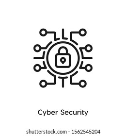 cyber security vector line icon. Simple element illustration. data protection icon for your design. Can be used for web and mobile