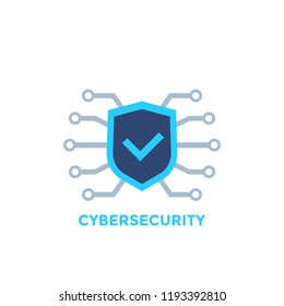 cyber security vector logo with shield and check mark