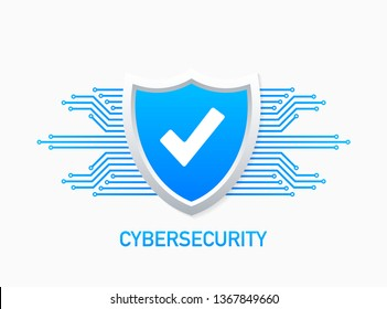 Cyber security vector logo with shield and check mark. Security shield concept. Internet security. Vector stock illustration.