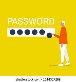Cyber security. Young male character entering a password. User access to account. Flat editable vector illustration, clip art
