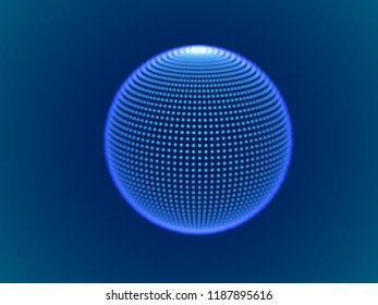 Cyber space concept: 3d digital sphere consisting of glowing particles. Cyber security, big data, data storage visual concept. EPS 10, vector illustration.