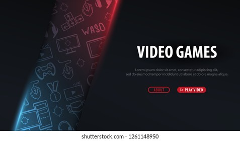 Cyber Sport banner. Esports Gaming. Video Games. Live streaming game match. Vector illustration