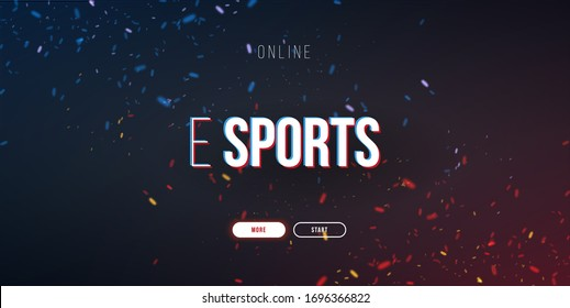 Cyber Sport banner with glitch effect. Esports Gaming. Video Games. Live streaming game match. Vector illustration with flame particles
