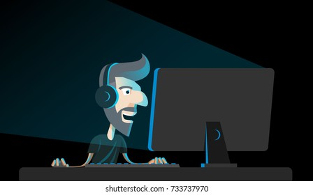 Cyber Sport Gamer Character Dude Playing Computer Games Late at Night Vector Art Design Illustration