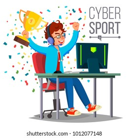 Cyber Sport Player Vector. Playing Computer Game. Professional Gamer. Event. Competition. Game Strategist. Isolated On White Cartoon Character Illustration
