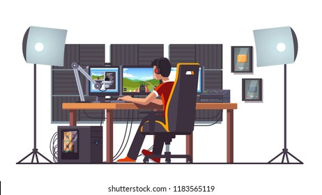 Cyber sport pro gamer live streaming game match sitting at professional studio with pc desk setup, gaming chair, mic, spotlights & webcam. Cyber sport streamer. Flat vector interior illustration