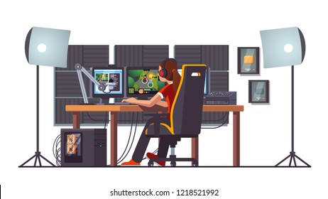 Cyber sport pro gamer woman live streaming game match sitting at professional studio with pc desk setup, gaming chair, mic, spotlights & webcam. Cyber sport streamer. Flat vector interior illustration