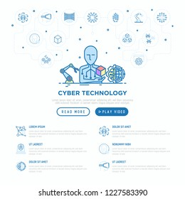 Cyber technology concept: Ai creates 3D. Thin line icons: virtual reality glasses, bionics, robotics, global network, computer game, microprocessor, nano robots. Vector illustration, web page template
