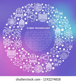 Cyber technology concept in circle with thin line icons: ai, virtual reality glasses, bionics, robotics, global network, microprocessor, nano robots. Vector illustration, print media template.