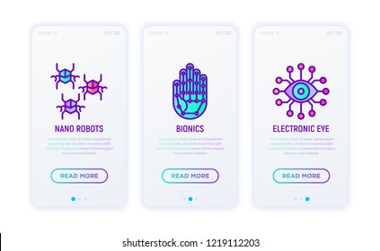 Cyber technology concept with thin line icons: bionics, nano robots, electronic eye. Vector illustration for user mobile interface.