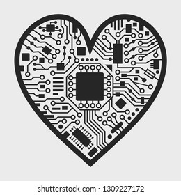 Cyber technology heart. Valentines day background with love symbol. Vector black and white illustration.