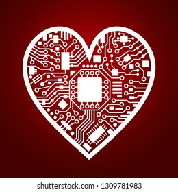 Cyber technology heart. Valentines day red background. IT love symbol. Vector illustration.